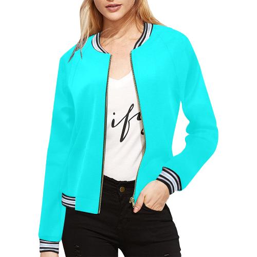 Aqua Alliance All Over Print Bomber Jacket for Women (Model H21)