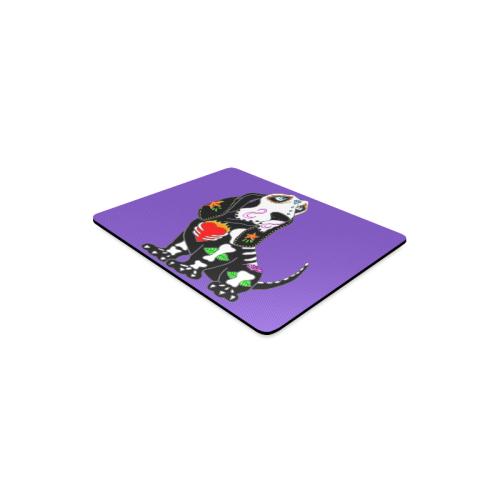 Basset Hound Sugar Skull Purple Rectangle Mousepad