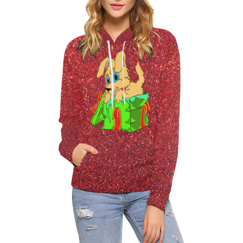 Christmas Puppy Red Sparkle All Over Print Hoodie (for Women)