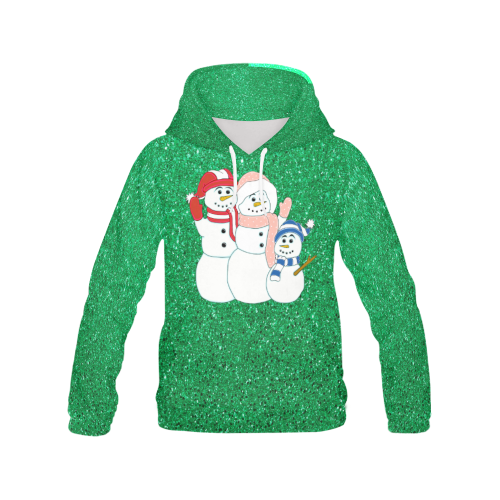 Snowman Family Green Sparkle All Over Print Hoodie (for Women)