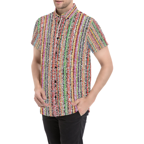 Patterns of colorful lines Men's All Over Print Short Sleeve Shirt (Model T53)