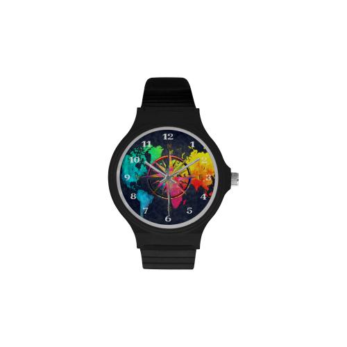 world map watch 5 Unisex Round Plastic Watch(Model 302)