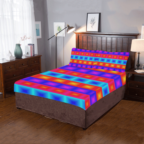 Red yellow blue orange multicolored multiple squares 3-Piece Bedding Set