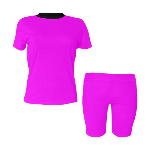 color fuchsia / magenta Women's Short Yoga Set (Sets 03)