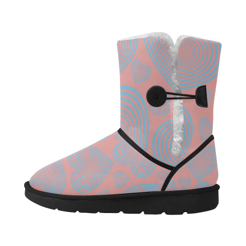 abstract  heart LOVE WINT. BOOTS Unisex Single Button Snow Boots (Model 051)