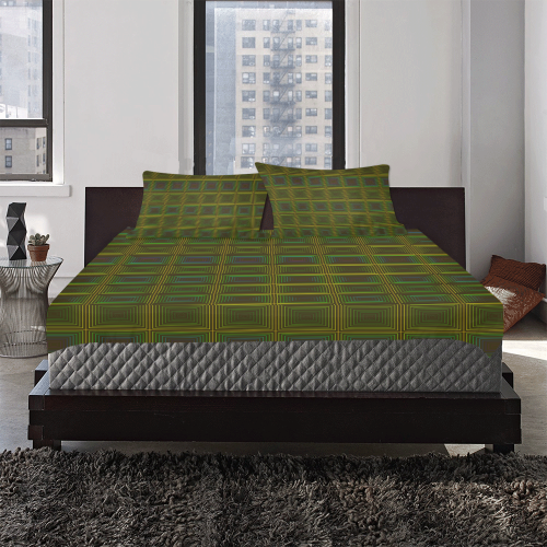Green violet multicolored multiple squares 3-Piece Bedding Set