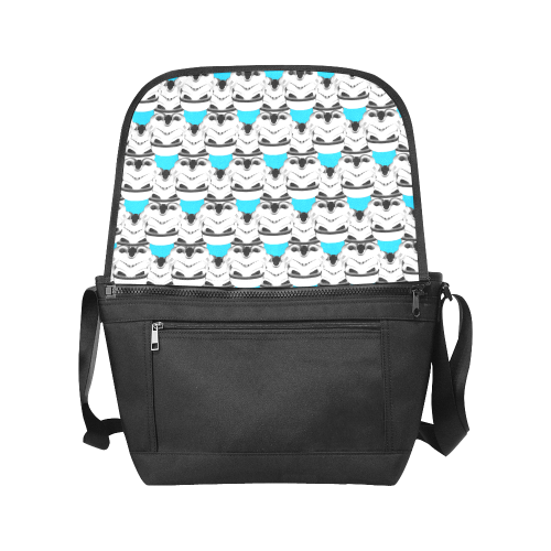 Stormie Helmet Print Flap Messenger Bag with Turquoise Blue Background New Messenger Bag (Model 1667)
