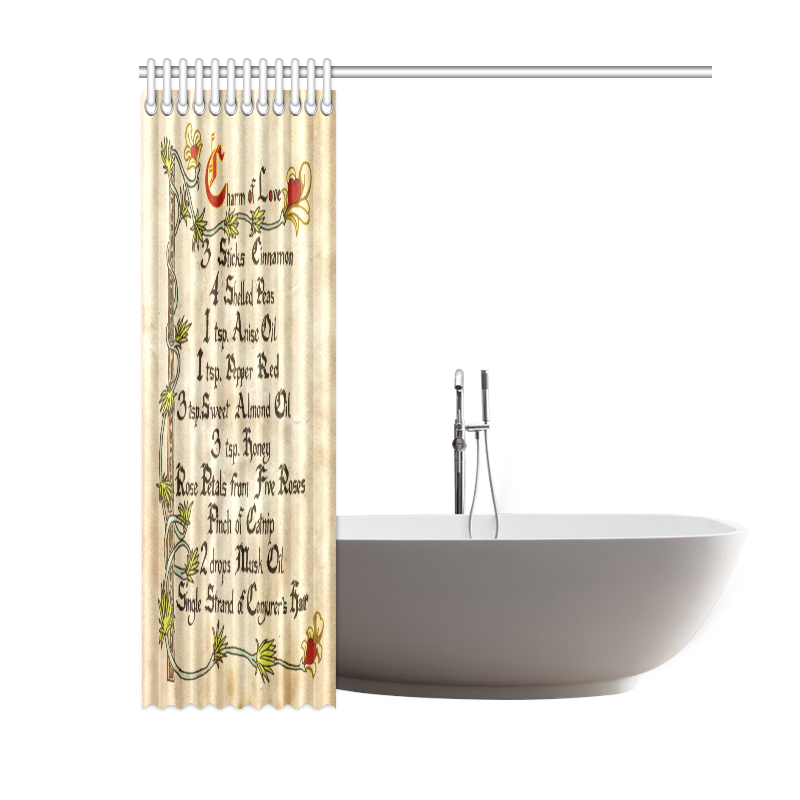 """Charm Of Love Spell Shower Curtain 60""""x72"""""""
