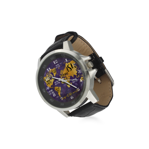 world map watch 4 Unisex Stainless Steel Leather Strap Watch(Model 202)