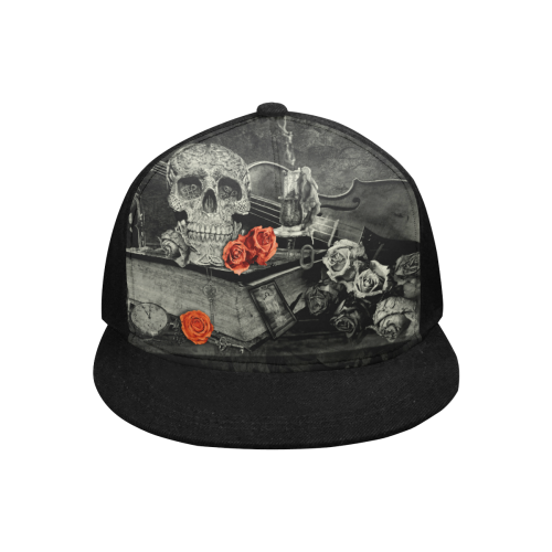 Steampunk Alchemist Mage Red Roses Celtic Skull Snapback Hat G (Front Panel Customization)