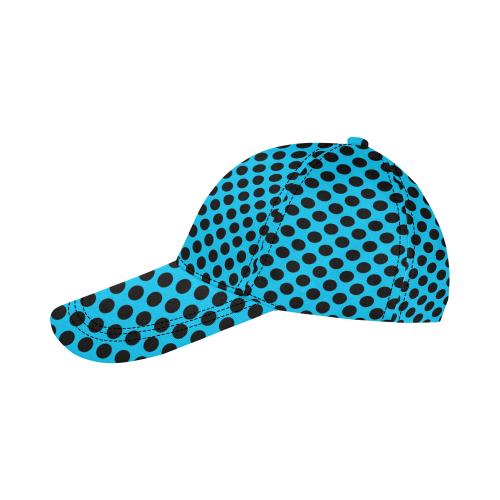 Black Polka Dots on Blue All Over Print Dad Cap C (6-Pieces Customization)