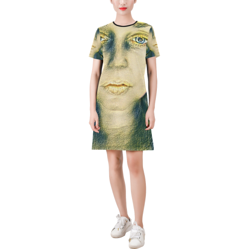not today Short-Sleeve Round Neck A-Line Dress (Model D47)