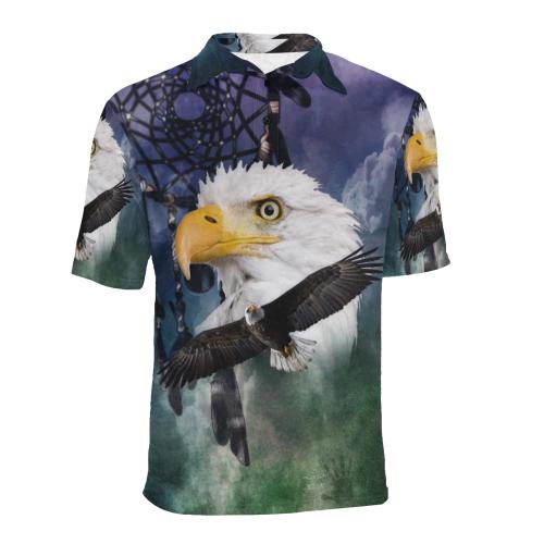 Shaman Eagle Spirit Men's All Over Print Polo Shirt (Model T55)