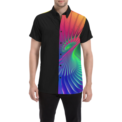 PSYCHEDELIC FRACTAL SPIRAL - Neon Colored Men's All Over Print Short Sleeve Shirt (Model T53)