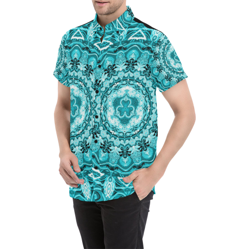 RUSSIAN MANDALA 15 Men's All Over Print Short Sleeve Shirt/Large Size (Model T53)