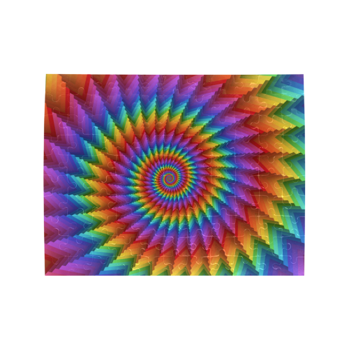 Psychedelic Rainbow Spiral Puzzle Rectangle Jigsaw Puzzle (Set of 110 Pieces)