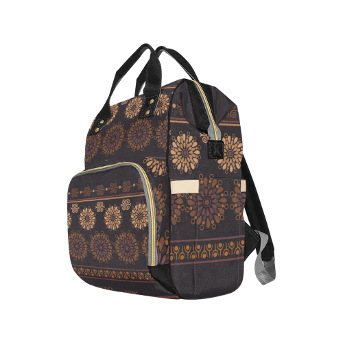 Ethnic Bohemian Brown and Tan Multi-Function Diaper Backpack (Model 1688)