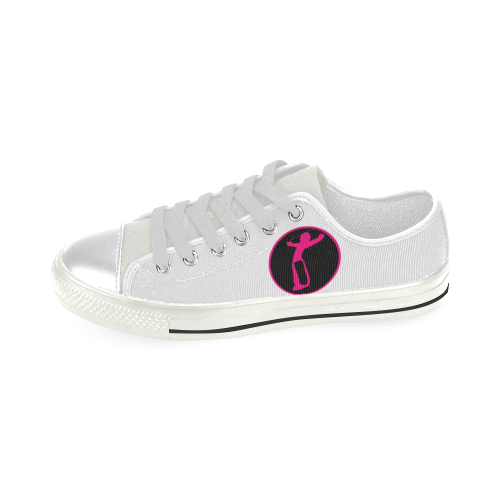 KId DW blk Pinl Low Top Canvas Shoes for Kid (Model 018)