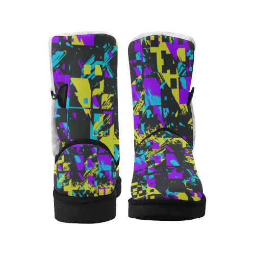 Purple yelllow squares Unisex Single Button Snow Boots (Model 051)