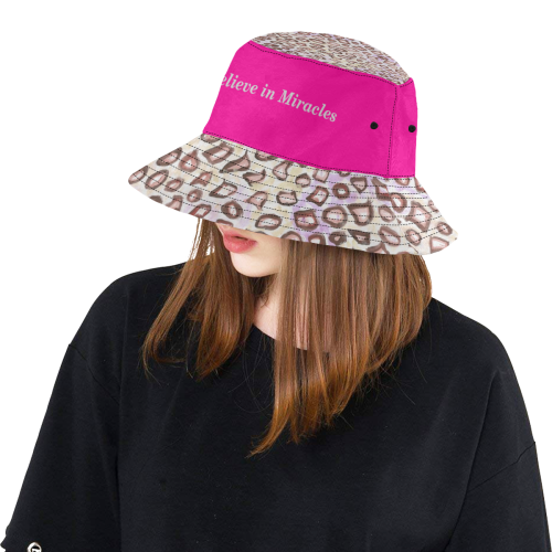 Leopard Skin and Cerise Hat with Miracles text All Over Print Bucket Hat