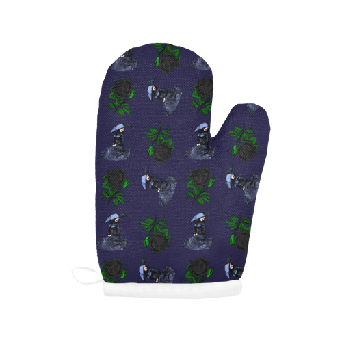 gothic girl rose blue pattern Oven Mitt (Two Pieces)
