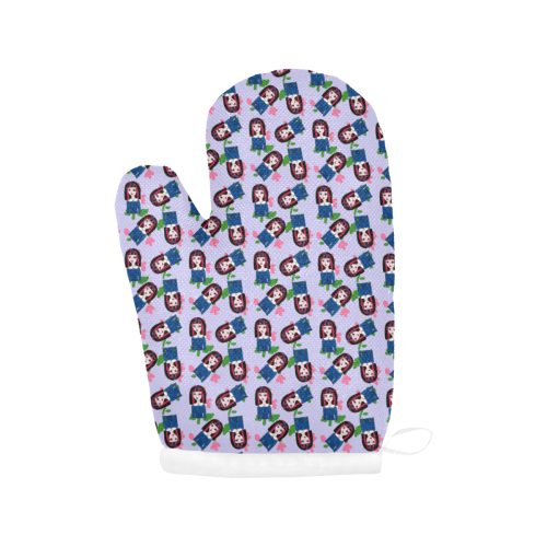 goth girl in blue dress lilac pattern Oven Mitt (Two Pieces)