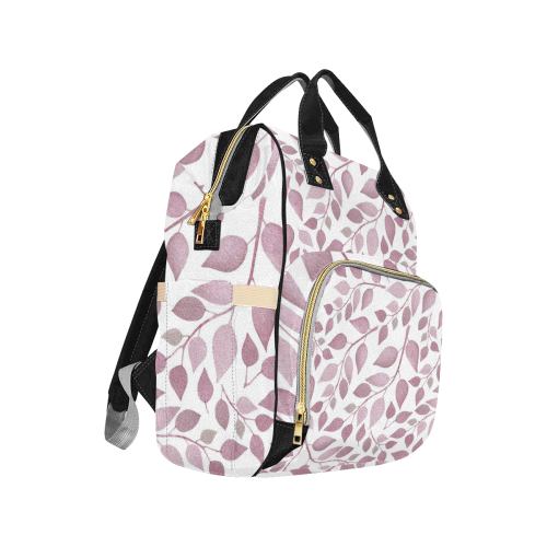 Pink Mauve Pastel Watercolor Branches Multi-Function Diaper Backpack (Model 1688)
