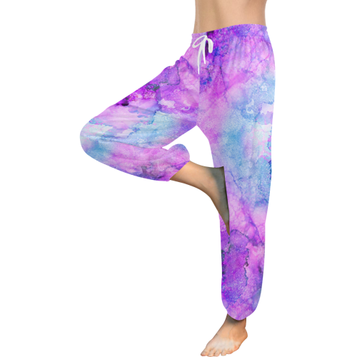 Pink Alcohol Ink Abstract Women's All Over Print Harem Pants (Model L18)