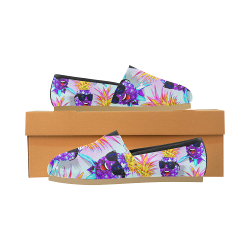 Pineapple Ultraviolet Happy Dude with Sunglasses Unisex Casual Shoes (Model 004)