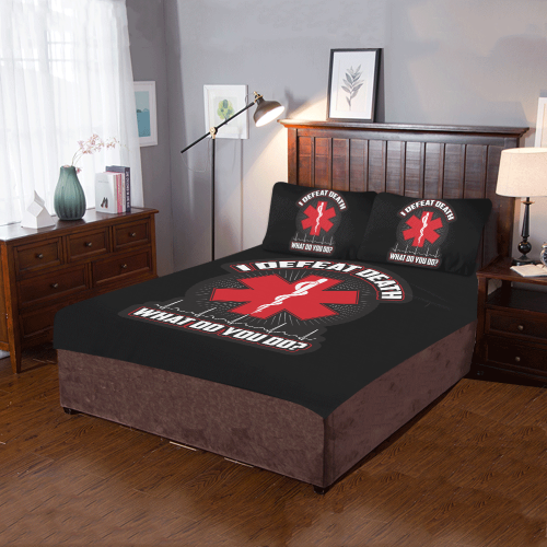 I Defeat Death EMT 3-Piece Bedding Set