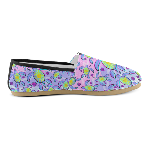 Sea Turtle and Sun Abstract Glitch Ultraviolet Unisex Casual Shoes (Model 004)