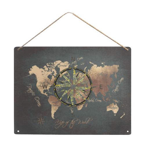 "world map wind rose #map #worldmap Metal Tin Sign 16""x12"""