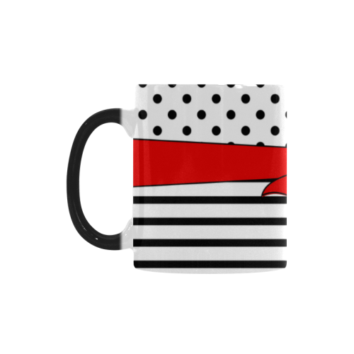 Polka Dots Stripes black white Comic Ribbon red Custom Morphing Mug (11oz)
