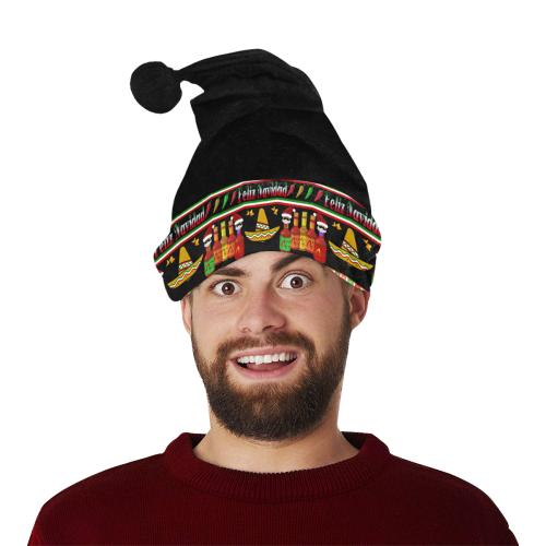 Christmas Feliz Navidad Ugly Sweater Black Santa Hat