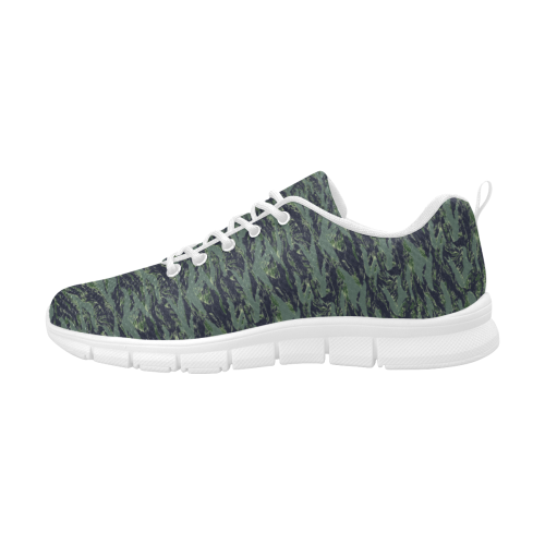 Jungle Tiger Stripe Green Camouflage Men's Breathable Running Shoes (Model 055)