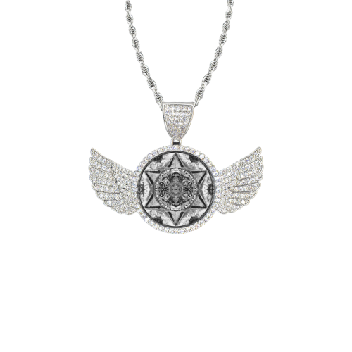 maguen david sticker 25 Wings Silver Photo Pendant with Rope Chain