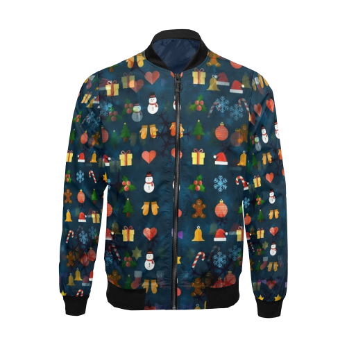 Oh Santa Pattern by K.Merske All Over Print Bomber Jacket for Men (Model H19)