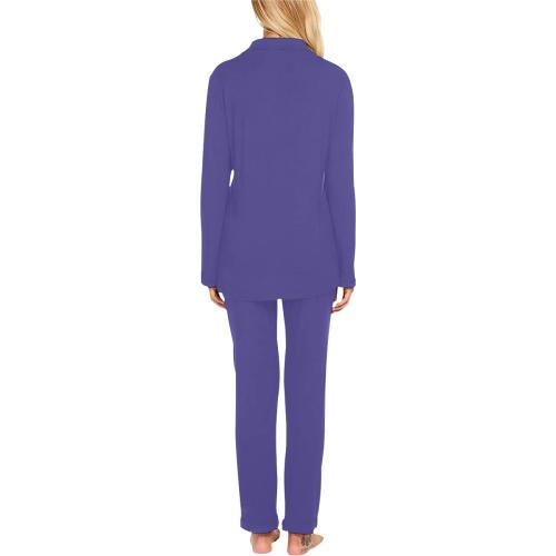 color dark slate blue Women's Long Pajama Set (Sets 02)