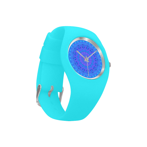 Blue Mandala Simple Style Candy Silicone Watch (Model 315)