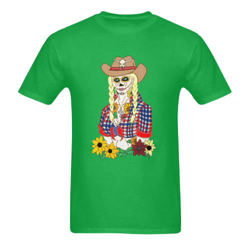 Cowgirl Sugar Skull Green Men's Heavy Cotton T-Shirt (One Side Printing)