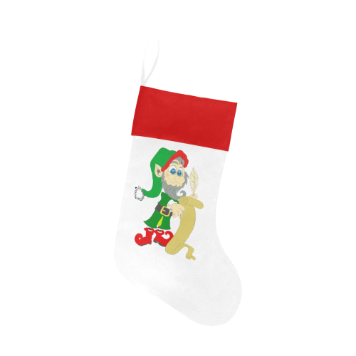 Christmas Elf White/Red Christmas Stocking