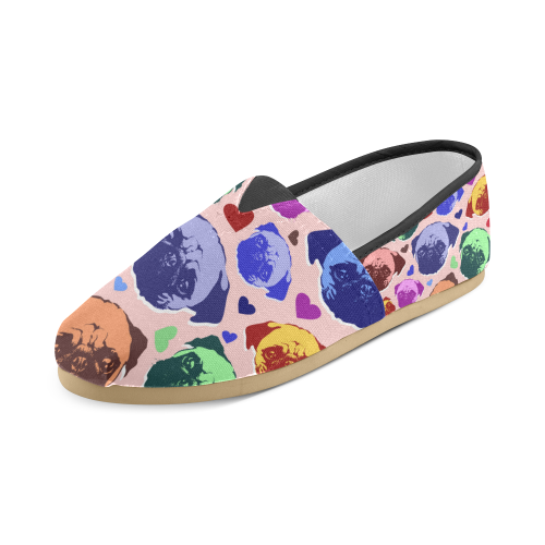 Pug Puppy Dog Love Hearts Unisex Casual Shoes (Model 004)