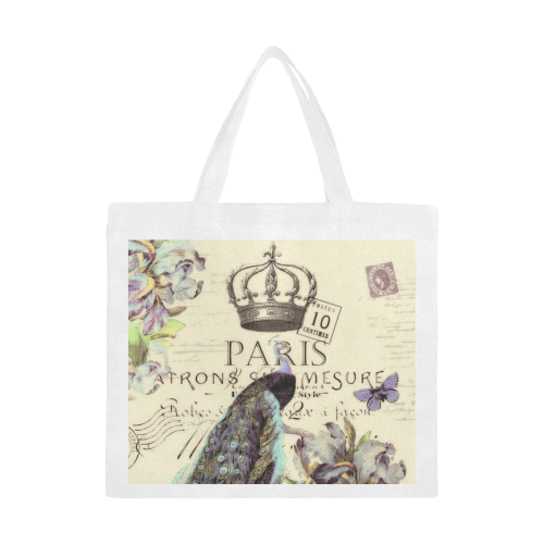 Peacock and crown Canvas Tote Bag/Large (Model 1702)