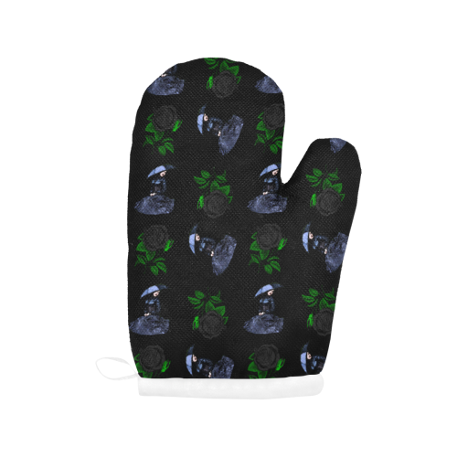 gothic girl rose black pattern Oven Mitt (Two Pieces)