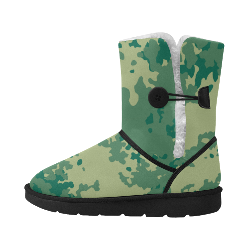 Green Camouflage Camu camu blocks Unisex Single Button Snow Boots (Model 051)