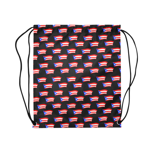 """Puerto Rican Flags Black Large Drawstring Bag Model 1604 (Twin Sides)  16.5""""(W) * 19.3""""(H)"""