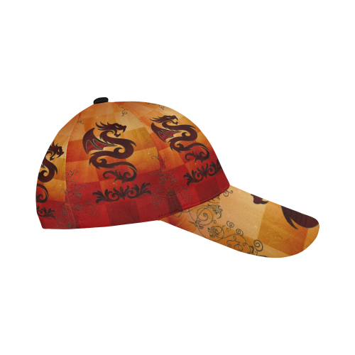 Tribal dragon  on vintage background All Over Print Dad Cap C (7-Pieces Customization)