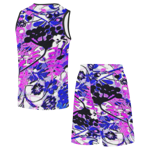 floral abstract in bright blues All Over Print Basketball Uniform