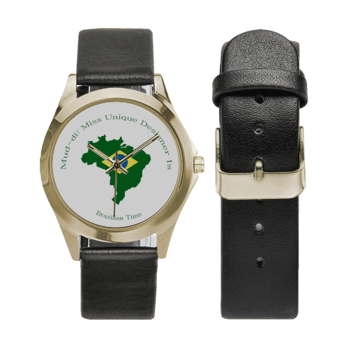 Brazil Flag Outline Gold Unisex Silver-Tone Round Leather Watch (Model 216)