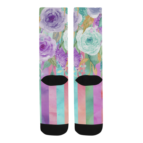 Watercolor Flowers Stripes Cyan Purple Orange Trouser Socks (For Men)